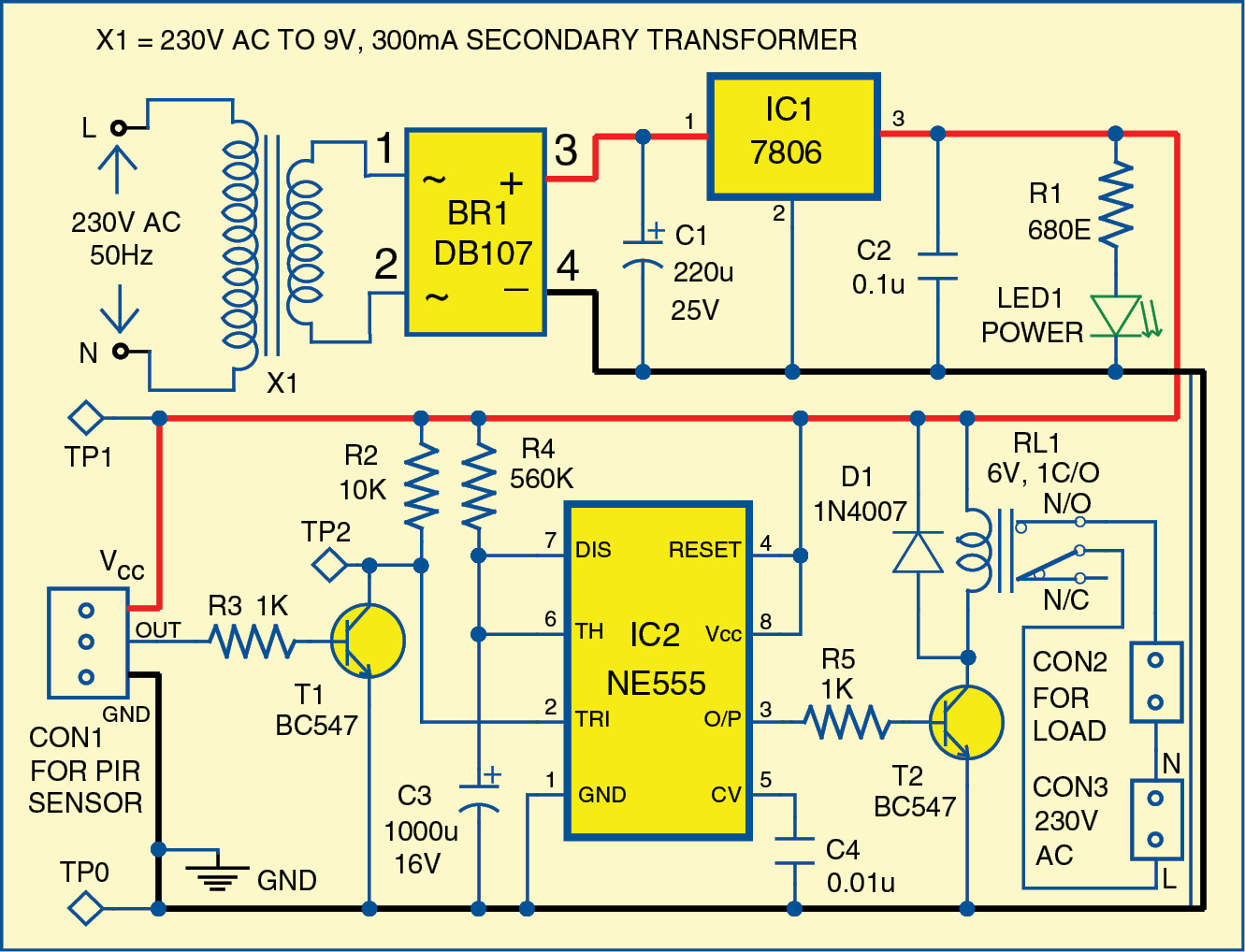 Alarm Circuit Diagram Pioneer Bluetooth Car Stereo Wiring Simple Motion Detector Using Ne555 Timer Electronic