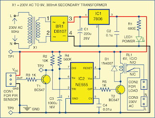 simple motion detector using ne555 timer electronic. Black Bedroom Furniture Sets. Home Design Ideas