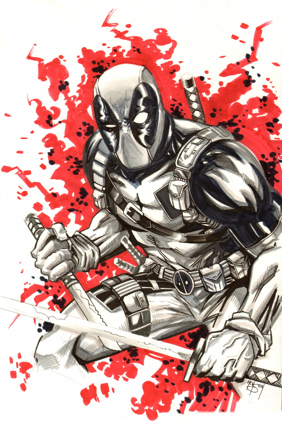 "Eric Henson's Blogfolio!: Project: ""Draw a Whole Buncha ...Deadpool Sketch"
