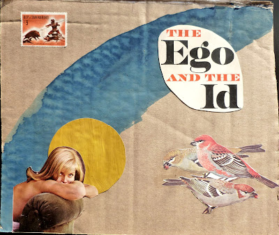 vintage nude Freud sparrows birds the ego and the id flag postage stamp San Marino Dada Fluxus collage