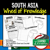 South Asia Activity, World Geography Activity, World Geography Interactive Notebook, World Geography Wheel of Knowledge (Interactive Notebook)