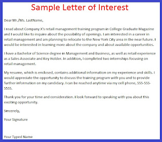 Sample Letter Of Interest For A College Job Application 49