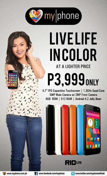 MyPhone Rio Lite: 4.7 inch, Quad-core Processor for Php3,999