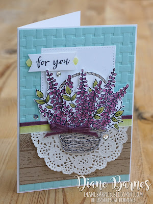 Handmade card using Stampin Up Sale-a-bration Blossoming Basket - Basket Weave folder bundle. Card by Di Barnes colourmehappy 2018 Sale-a-bration