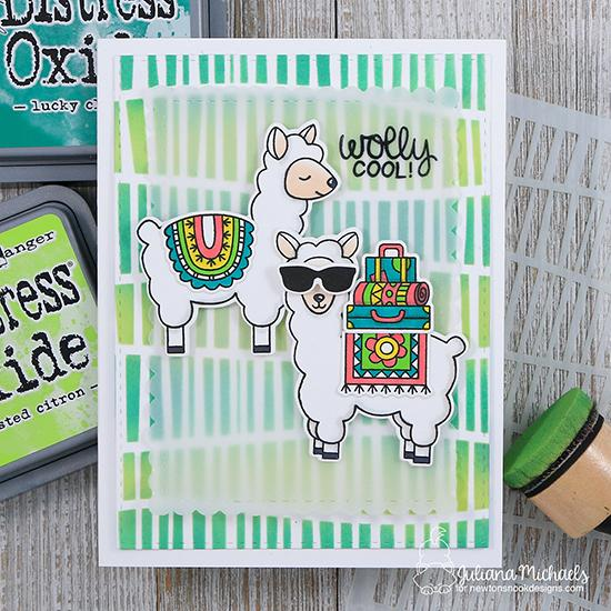 Llama Card by Juliana Michaels | Loveable Llamas Stamp Set and Serene Stripes Stencil by Newton's Nook Designs #newtonsnook #handmade #llama