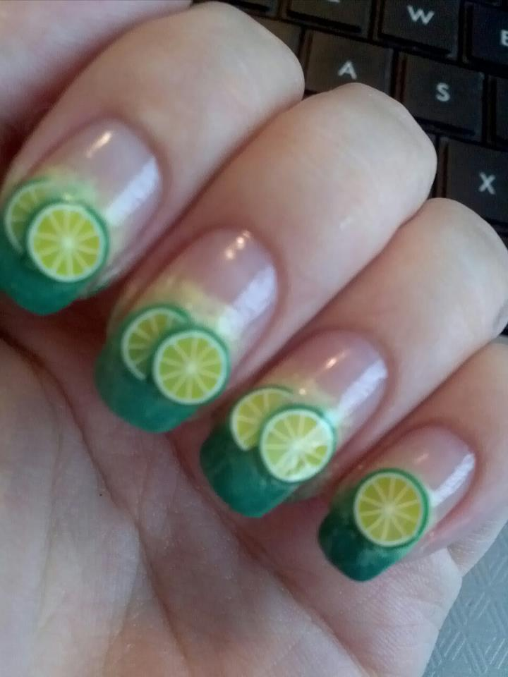 Juicy Nails Nail Art Gradient Green And Yellow Gradient Fade With Lime Fimo