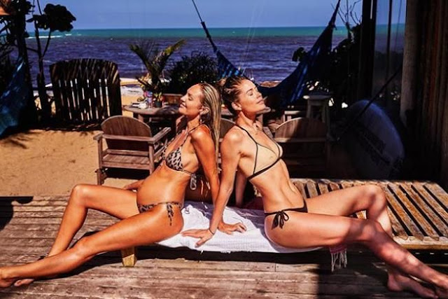 Candice Swanepoel and Doutzen Kroes soak up the sun