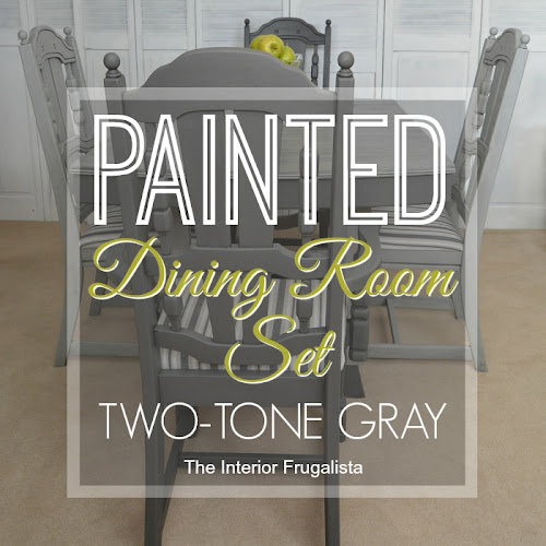 Painted Dining Room Set Dry Brushed Two-Tone Gray