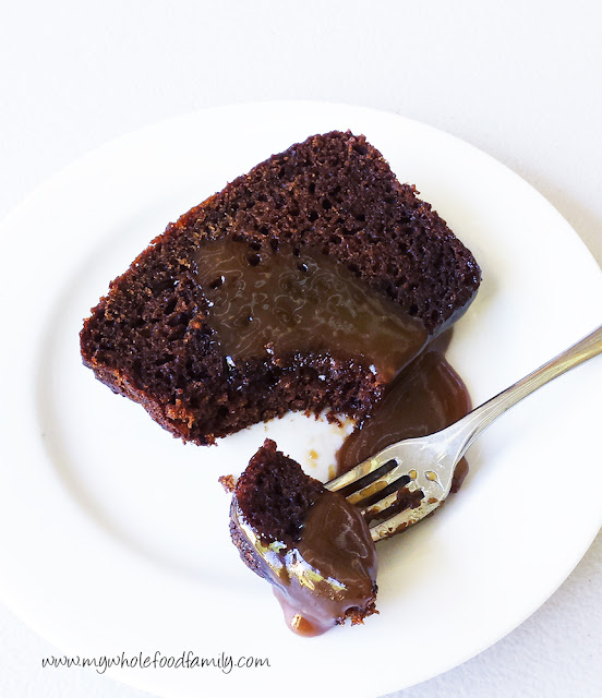 Gluten and dairy free sticky date pudding with butterscotch sauce - www.mywholefoodfamily.com