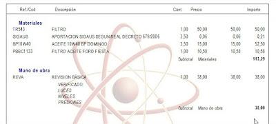 Imagen de una  factura del software para taller