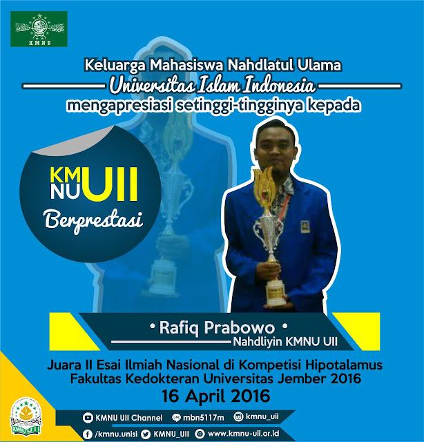KMNU UII Berprestasi (3) Rafiq Prabowo - Juara 2 Esai Ilmiah Nasional
