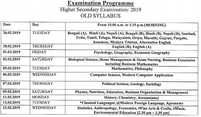 WBCHE 12th Class Routine 2019 (Old Syllabus)