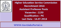 Higher Education Service Commission Recruitment 2016 for 1150 Assistant Professors Apply Online Here