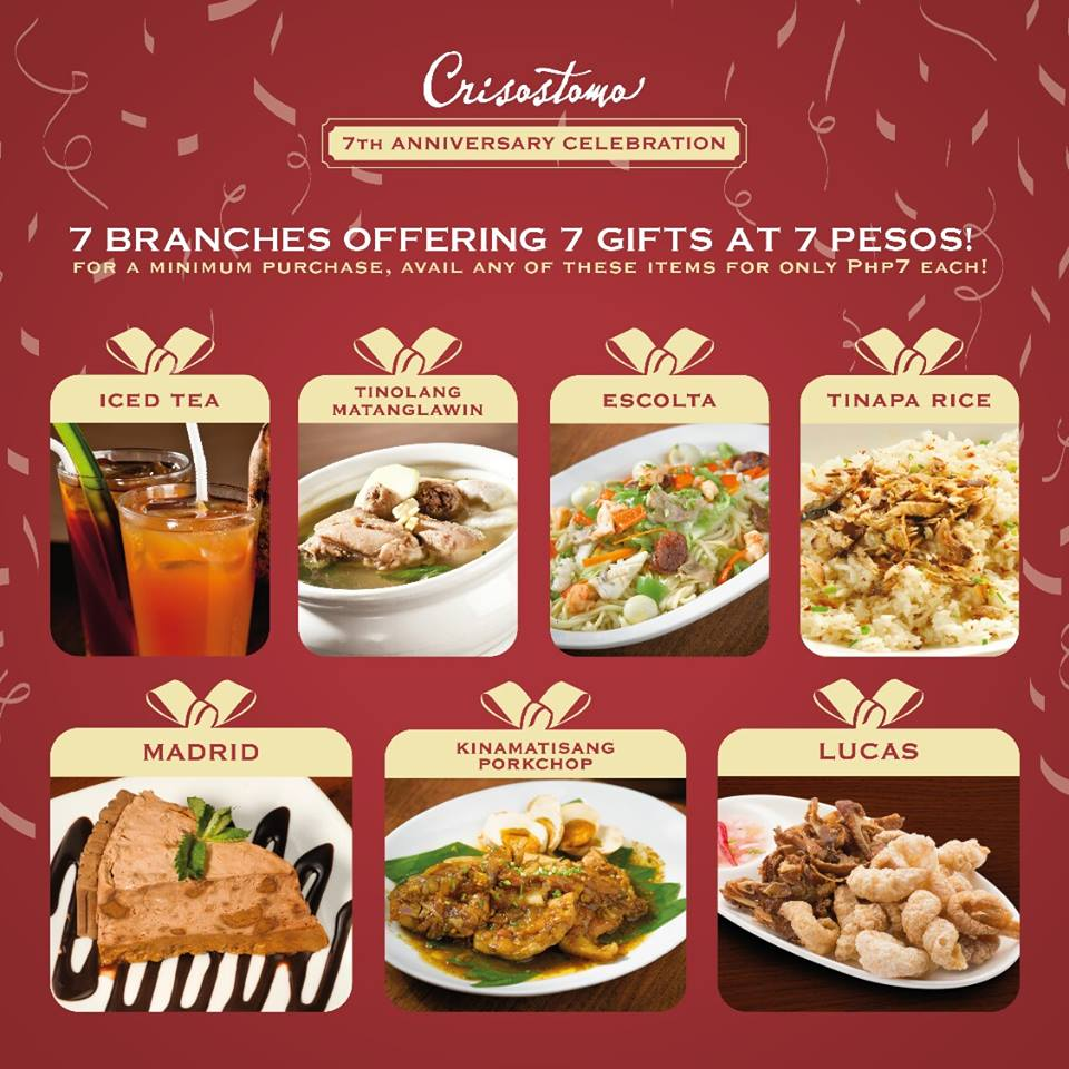 Manila Shopper Crisostomo Restaurant 7th Anniversary