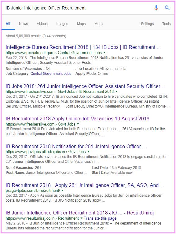 IB Junior Intelligence Officer Recruitment