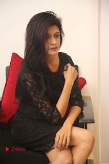 Actress Kimaya Phtoos in Black Short Dress at Kotha Kothaga Unnadi Press Meet .COM 0045.JPG