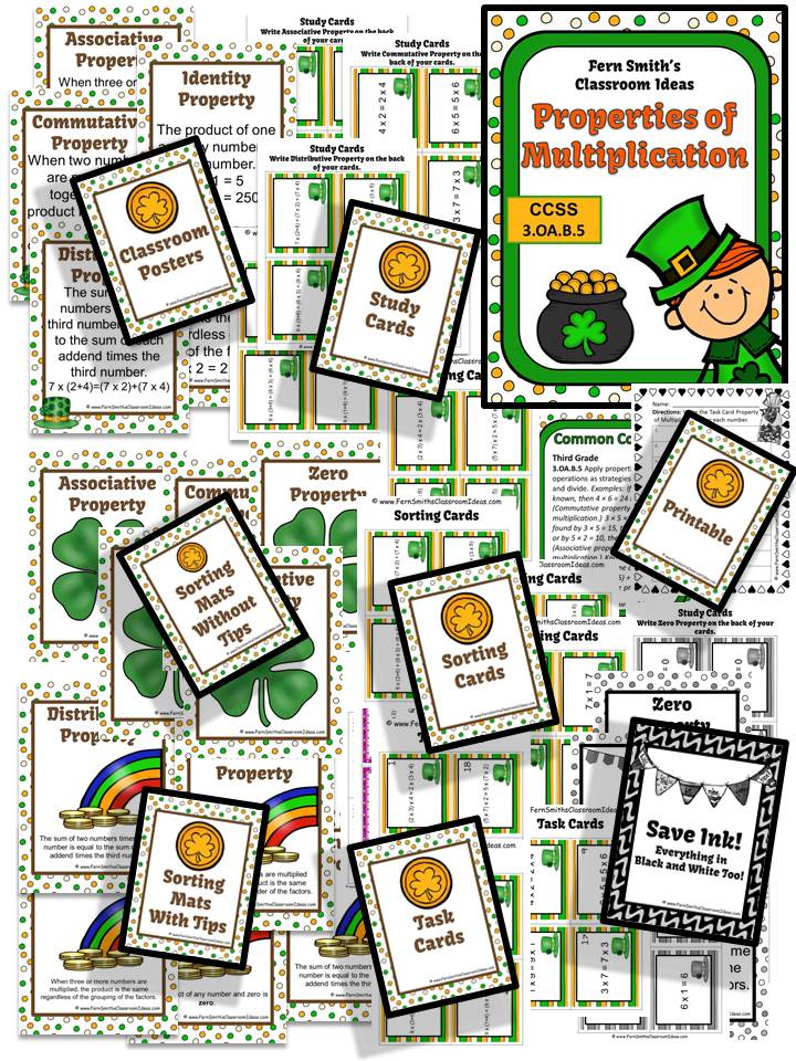Fern Smith's St. Patrick's Day Properties of Multiplication Mega Math Pack