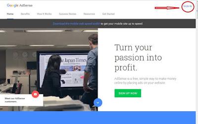 На странице сайта Google AdSense справа вверху нажать SIGN IN