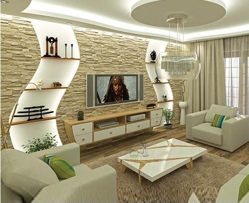 Gypsum board TV wall design with LED lights for modern ...