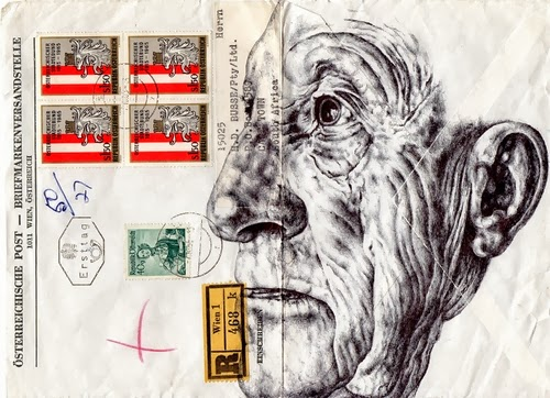 13-Portraits-on-Envelopes-Documents-or-Sheets-of-Music-British-Artist-Mark-Powel-www-designstack-co