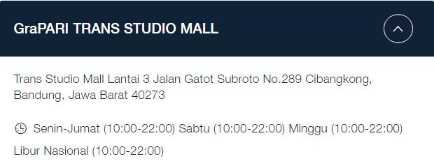 Alamat GraPARI Telkomsel Bandung: Trans Studio Mall