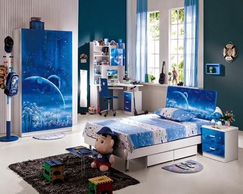 chambre enfants en Couleur bleus