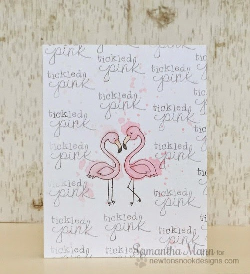 Tickled Pink Flamingos |  One layer card by Samantha Mann | Flirty Flamingos Stamp set by Newton's Nook Designs