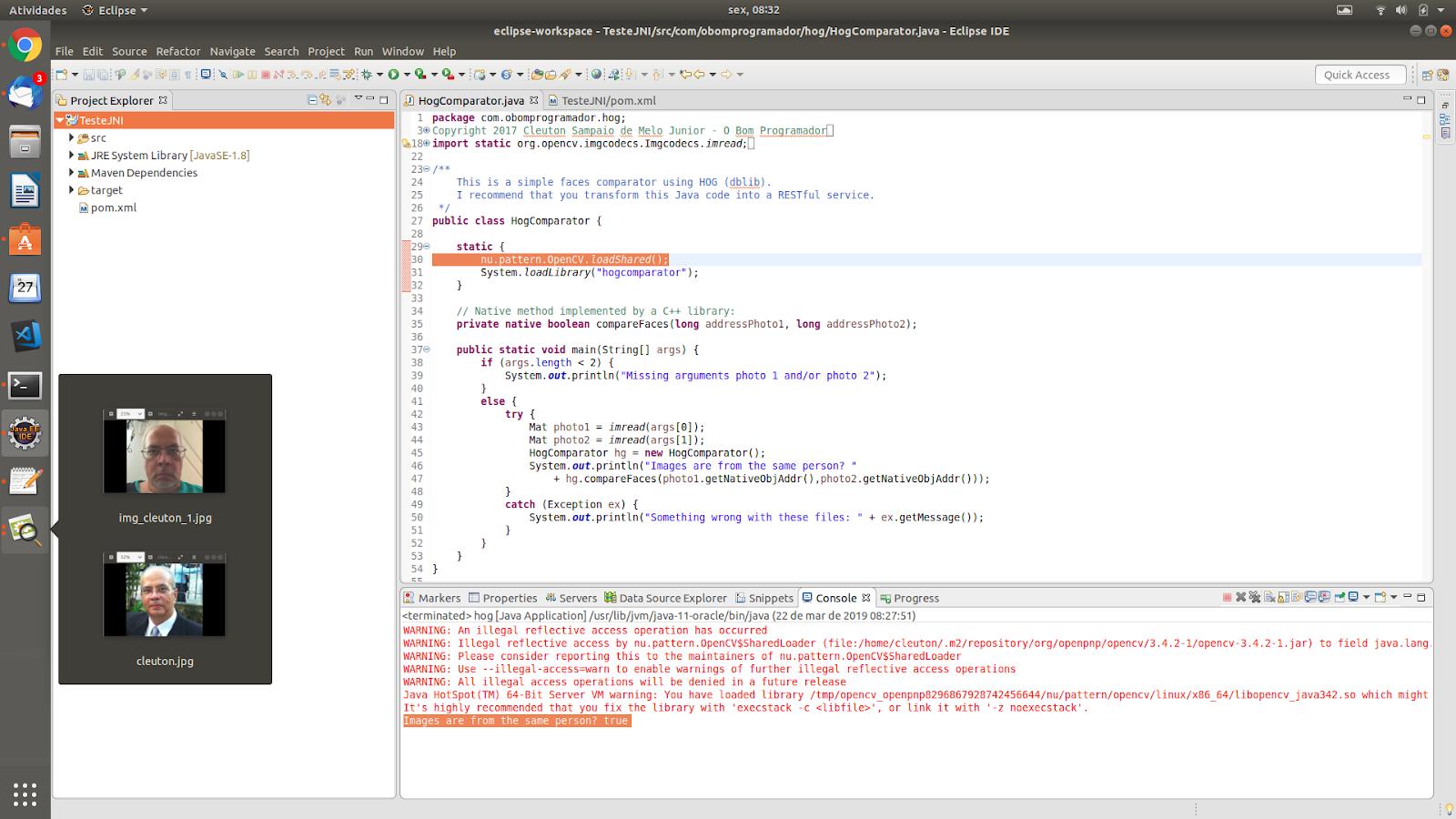 O bom programador: Comparação de rostos com Java e C++