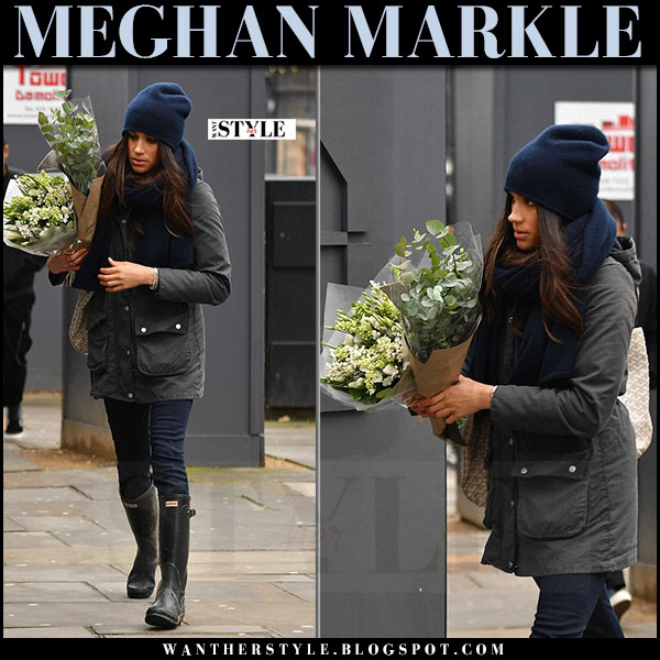 Meghan Markle in canvas parka barbour and black rain boots hunter streetstyle