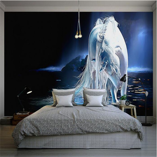 Horse wall murals Wallpaper white horses galloping run photo wallpaper living room bedroom 3d girls room fantasy night