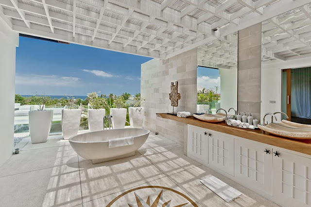 Picture of modern tropical bathroom with the ocean view