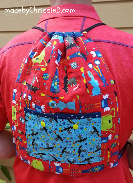 Drawstring Back Pack Tute by www.madebyChrissieD.com