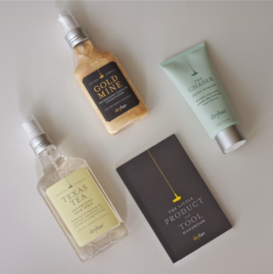 Drybar product review, Gold Mine Shimmering Leave-In Conditioner, Texas Tea Volumizing Hair Spray, The Chaser Shine Cream