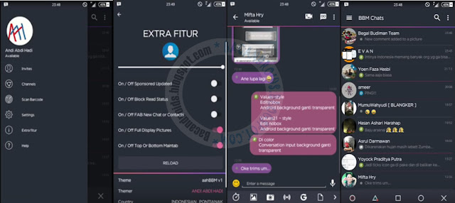 BBM Mod AAH style Colored Dark theme v1 Base v3.1.0.13 Apk terbaru For Android
