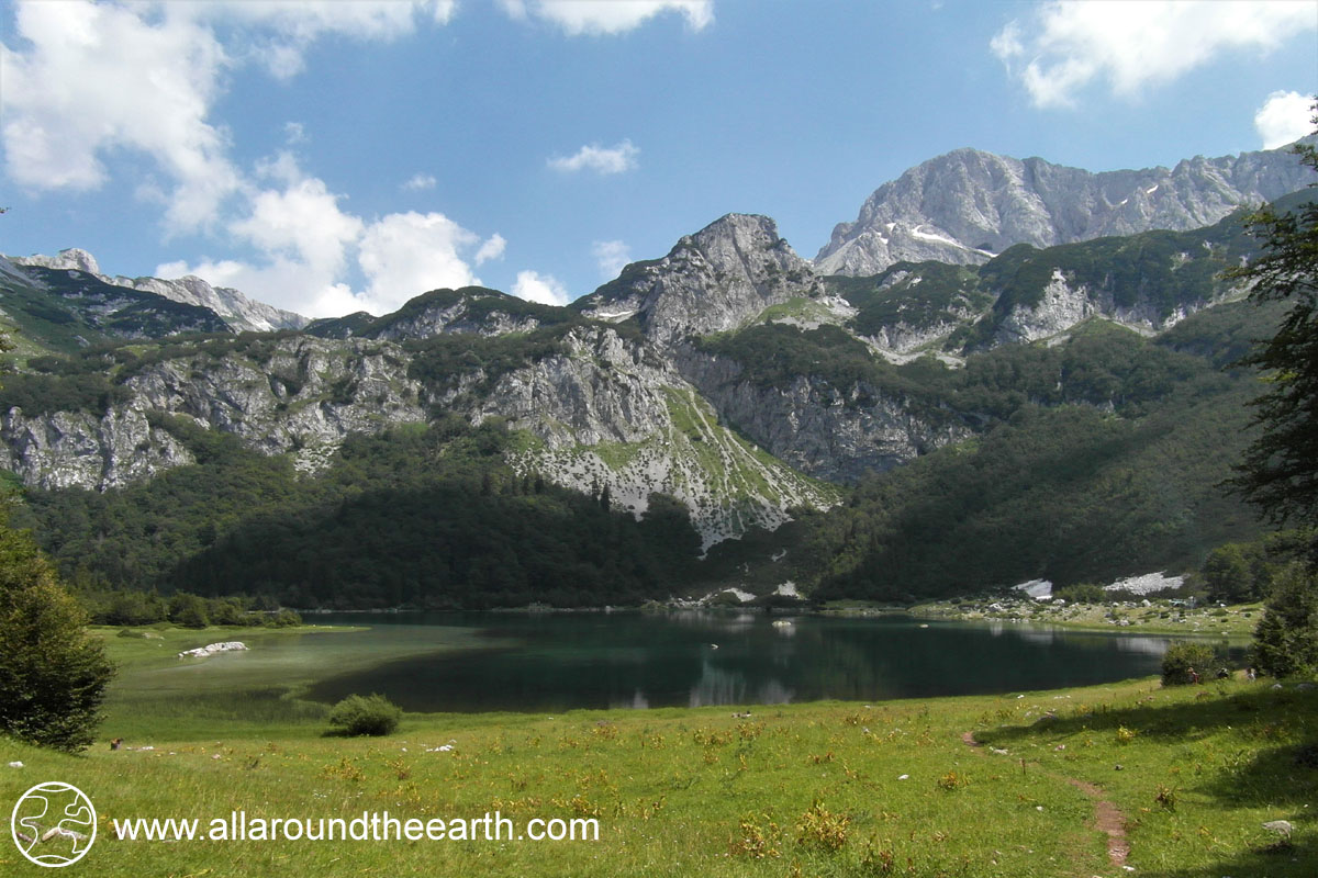 Lake Trnovačko in Montenegro, only accessible hiking from the Sutjeska National Park in Bosnia and Herzegovina