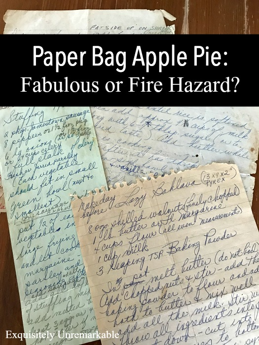 Baking your apple pies in a paper bag may result in a tastier pie, but it also may result in a fire. Here's our story.