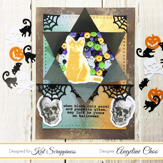 ScrappyScrappy: Toil and Trouble with Kat Scrappiness #scrappyscrappy #katscrappiness #katscrappinessdies #katscrappinessstamps #katscrappinessequins #halloween #toilandtrouble #layeringstamps #sequins #borderdie #card #cardmaking #craft #crafting #scrapbook #scrapbooking #papercraft #distressoxide #timholtz #primamarketing #colorbloomspray