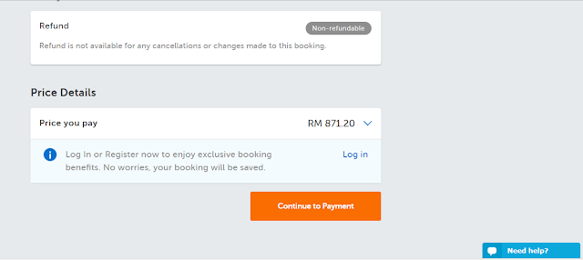 Payment for flight booking