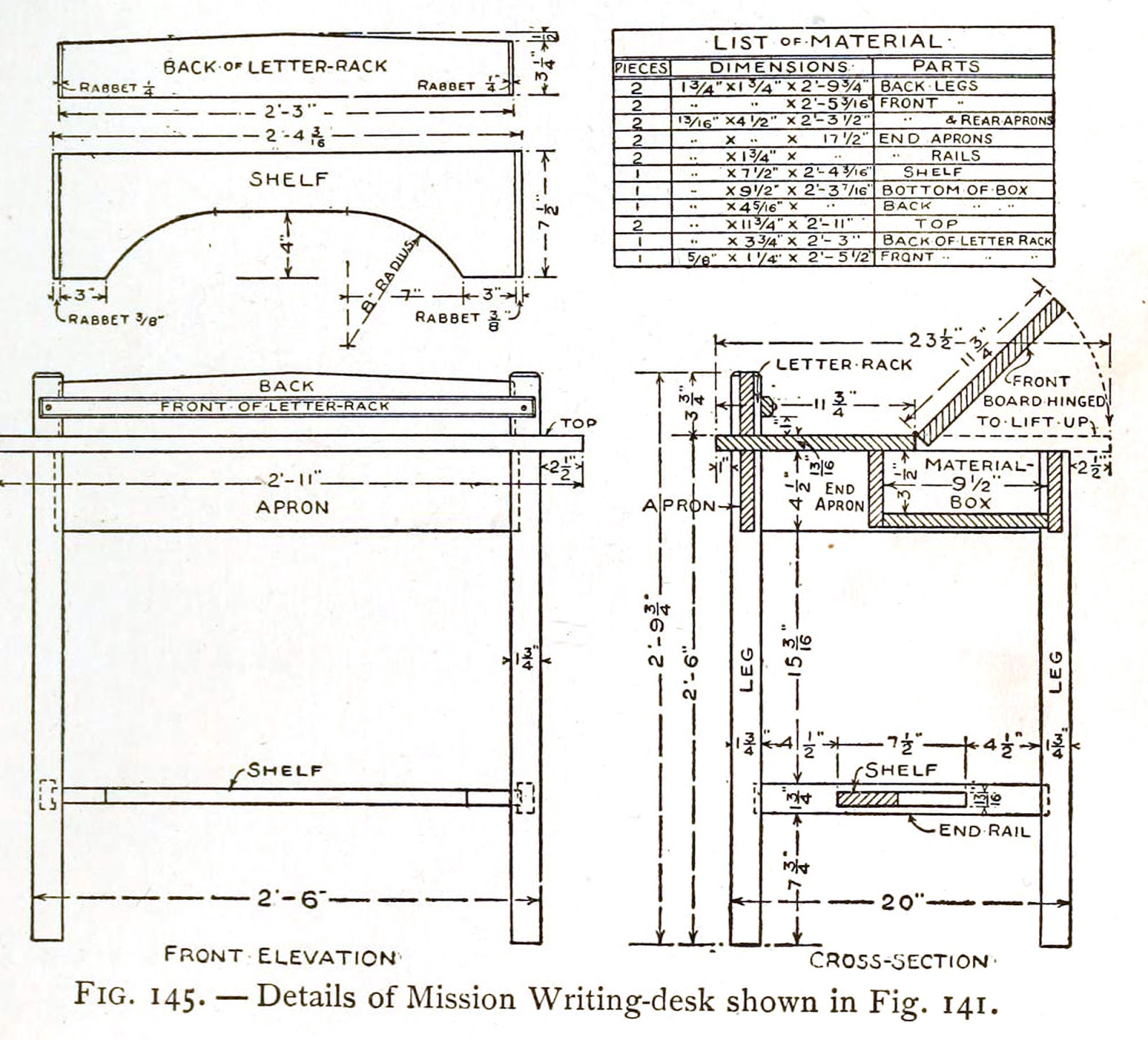 mission style writing desk plans how to build a mission writing desk img 2 [ 1600 x 1449 Pixel ]