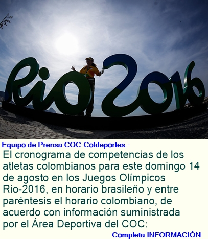 Programación de los colombianos, para este domingo, 14 de agosto