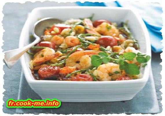 Poêlée de tomates cerise, crevettes et salicorne