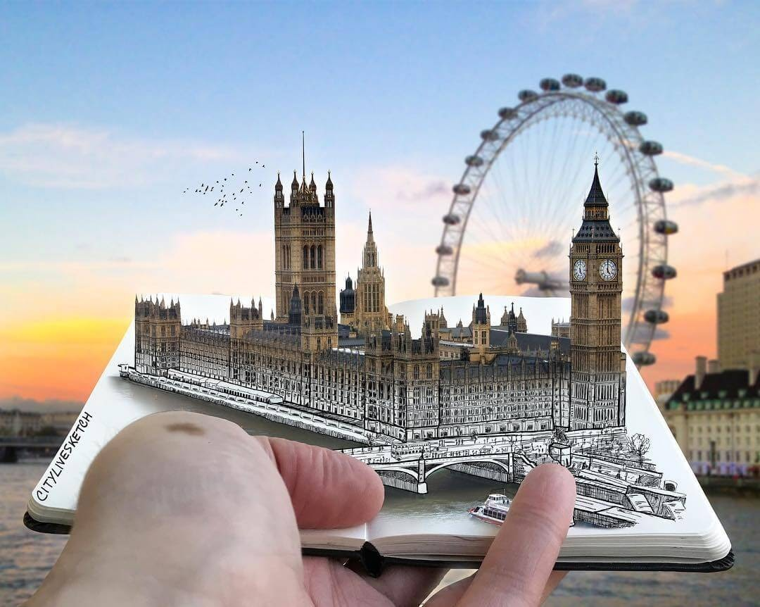 05-Palace-of-Westminster-Pietro-Cataudella-3D-Architectural-Urban-Moleskine-Sketches-www-designstack-co
