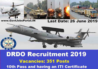 DRDO Vacancy for 351 Technician posts 2019