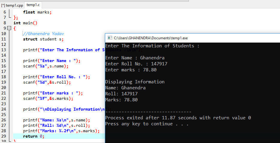 C Program To Store Student Information Like (Name, Roll & Marks) In C Using Structure