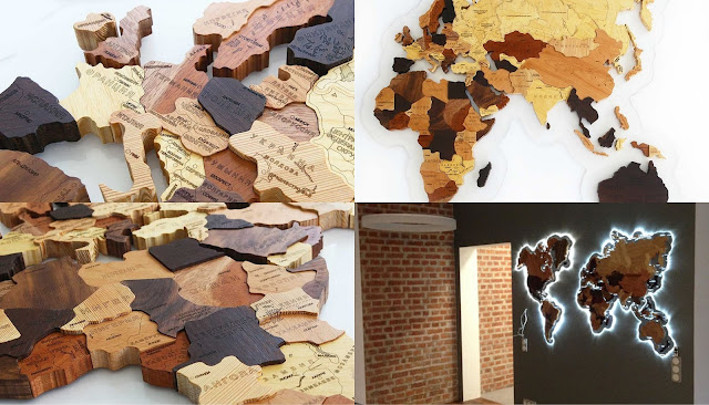 Что подарить путешественнику?  деревянная карта мира с подсветкой на стену