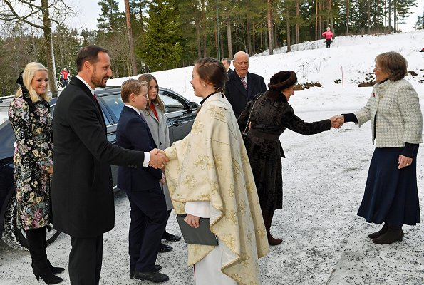 Crown Princess Mette-Marit wore TSH Black Flower Coat. Queen Sonja, Princess Ingrid Alexandra and Prince Sverre Magnus