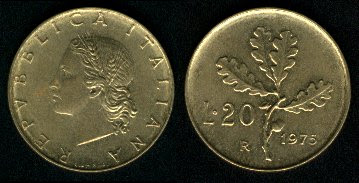 Italy 20 Lire (1968-1995) Plain Edge 1982 Coin