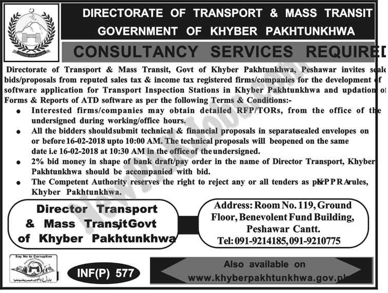 Consultancy Jobs in Directorate of Transport and Transit Govt of KPK Today Ad