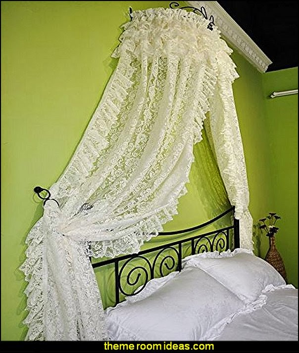 White Lace Bed Curtain Decorative Princess Bedroom Curtain Headboard Lace Curtain