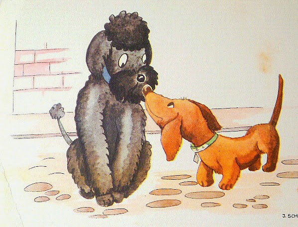 vintage illustrated post card of a poodle and sausage dog